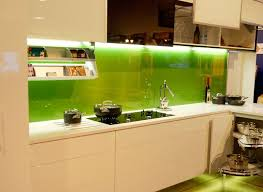 kitchen plush kitchen idea with glowing glass backsplash and