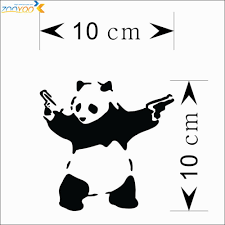aliexpress com buy u0026 cartoon panda gun car sticker wall stickers