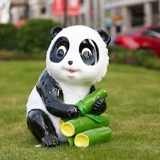 panda cubs garden sculptures statues outdoor decoration
