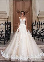 Chapel Train Wedding Dresses Stunning 2017 Milla Nova Sheer Castle Wedding Dresses Ball Back