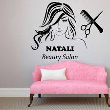 popular custom hair salon wall decals buy cheap custom hair salon girls beauty salon wall decal personalized name vinyl wall stickers interior removable hair spa haircut custom