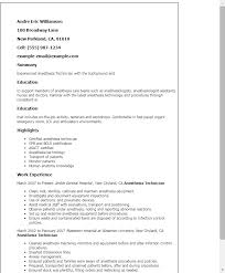 Veterinary Resume Sample by Professional Anesthesia Technician Templates To Showcase Your