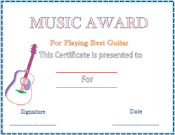 guitar music award certificate template microsoft word templates