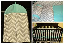 Zig Zag Crib Bedding Set Tiny Totties Zig Zag Turquoise And Gray 9 Baby Crib Bedding