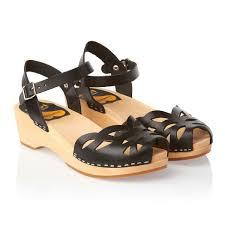 swedish hasbeens ornament clog sandals black free uk delivery