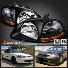 honda civic headlight fit honda 96 98 civic ek ej jdm black housing lights