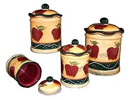 apple kitchen canisters 4 pc country apple canister set country kitchen