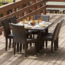 All Weather Wicker All Weather Wicker 7 Piece Outdoor Patio Dining Set Patio Table