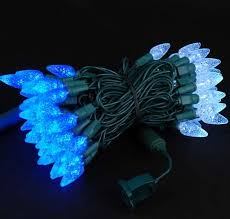 commercial c6 led 70 light blue and white strawberry mini lights