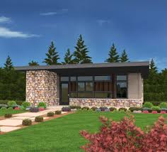 exclusive tiny modern house plan with outdoor spaces front and