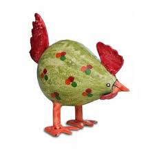 buy small spotted metal chicken ornament in colourful rustic