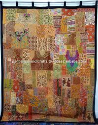 Sari Curtain Vintage Sari Patchwork Curtain Tapestry Huge Indian Patchwork