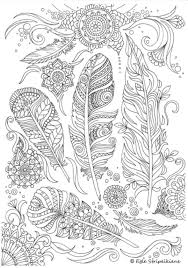 zendoodle feathers complex coloring free printable