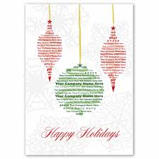 three ornaments cards with company name in design deluxe
