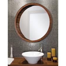 ren wil walnut frame beveled round mirror free shipping today