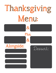 thanksgiving menu printable frame smart school house