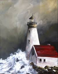 acrylic lighthouse painting by olexiart