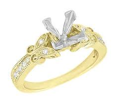 gold engagement ring settings deco filigree butterfly 3 4 carat princess cut
