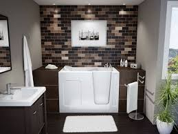 white acrylic soaking bathtub combined with glass mosaic