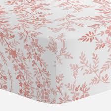 light coral floral damask crib sheet carousel designs