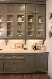 Gray Cabinets With White Countertops Gray Cabinets Marble Subway Tile And White Countertops Home