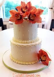 lemony buttercream u0026 orange orchid wedding cake sweetelement
