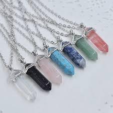 real stone necklace images 6pcs bullet shape natural stone real necklace howlite crystal gem jpg