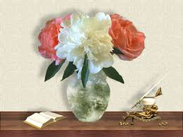 pen tag wallpapers peony roses vase desk photography pen holder