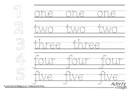 number word handwriting worksheets mixed 1 to 10