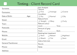 tinting client card treatment consultation card u2013 beauty stationery