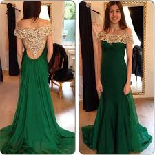 emerald green prom dress off the shoulder low cut see through back