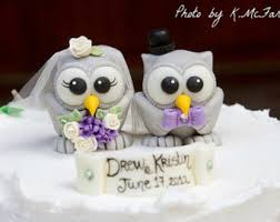 halloween wedding cake topper custom cute owl love birds