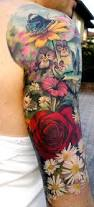 gorgeous floral half sleeve tattoo real photo pictures images