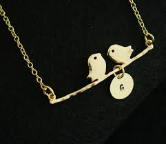 personalized sterling silver necklace family bird necklace with 1 initial for st gold