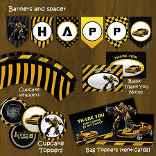 printable transformers birthday banner bumblebee transformers printable birthday party package bumble bee