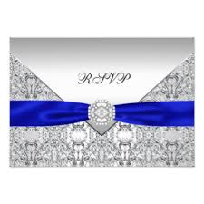 Royal Blue And Silver Wedding Royal Blue And Silver Wedding Invitations U0026 Announcements Zazzle
