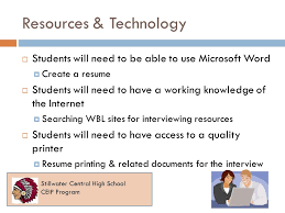 Printer Resume Job Interview Flash Cards Work Based Learning Virtual Campus