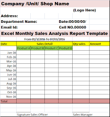 sale report template excel excel monthly sales analysis report template free report templates