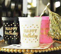 21st Party Decorations Happy Birthday Cups Set Of 10 Gold Black Pink White Birthday