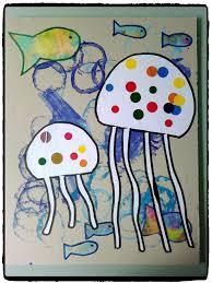 pinterest bricolage enfant tableau fonds marins mer et océan méduse poissons bricolage