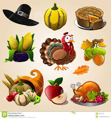 thanksgiving cartoon videos thanksgiving day items stock vector image 58217012