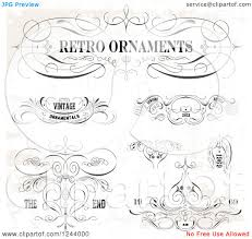 clipart of retro ornaments designs with sample text on a