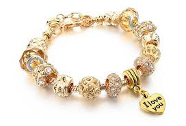 gold bracelet with heart charms images Shipping for free heart charm bracelets jpg