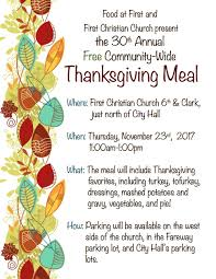 30th annual food at thanksgiving meal was thur nov 23 2017