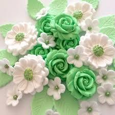 mint green flowers mint green bouquet edible sugar flowers cake cupcake
