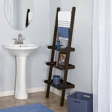 Shelf For Pedestal Sink Furniture Creative Storage And Decorating With Leaning Shelves