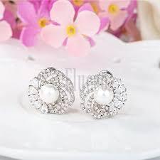 big stud earrings cubic zirconia flower shaped big stud earrings platinum