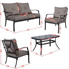 Patio Furniture Set by Gym Equipment Outdoor Patio Furniture Set Tea Table U0026 Chairs 4 Piece