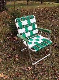 Vintage Aluminum Folding Chairs Vtg Aluminum U0026 Webbed Folding Green White Lawn Chair Patio Camping