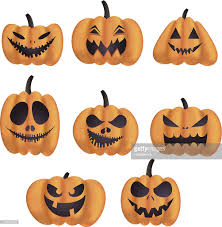 halloween pumpkin faces vector art getty images